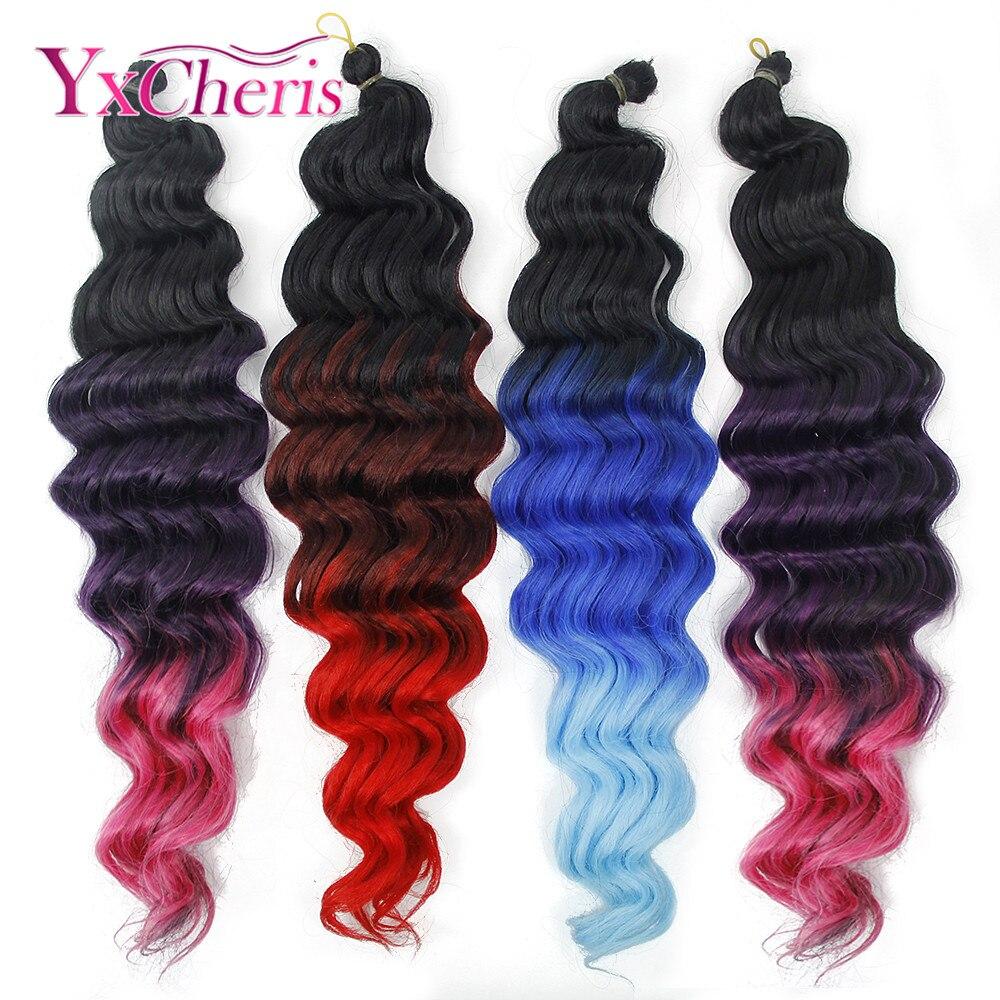 Crochet Braids Synthetic Extensions Soft Braiding Hair Long Deep Bundles Curly Wave Crochet Hair Extension