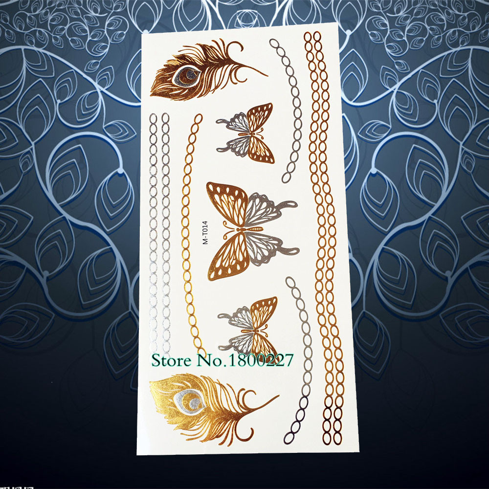 1PC New Style Gole Metallic Tattoo Peacock Feather Butterfly Chains Design Waterproof Temporary Tattoo Sticker Women Henna PMT14