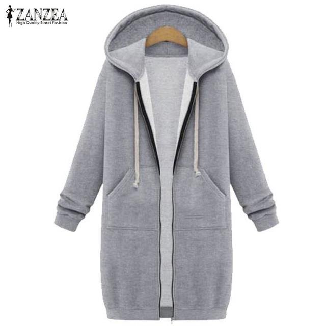 De gran tamaño 2017 otoño zanzea mujeres bolsillos larga casual sudaderas con capucha sudaderas escudo zip up prendas de abrigo con capucha de la chaqueta más el tamaño tops