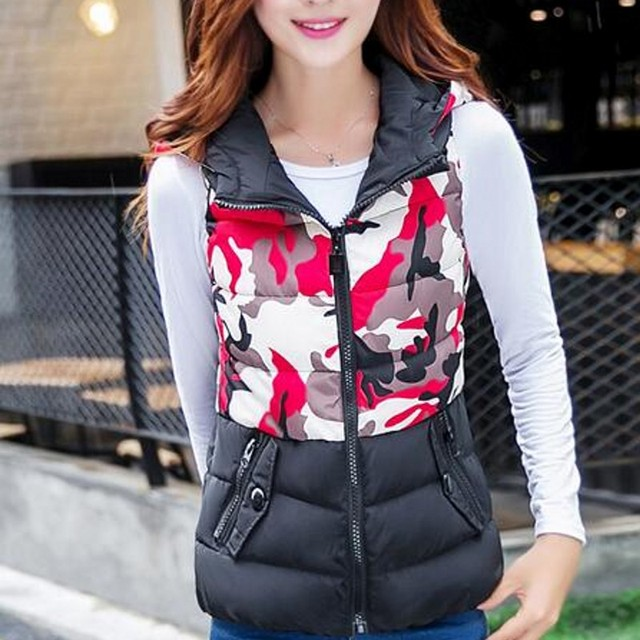 2016 New Brand Lovers Casual Women Vest Camouflage Colete Feminino Autumn Winter Hooded Cotton Padded Men's Vests 3 Size