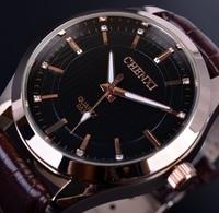CHENXI Rose Gold Case Black Golden Diamond Dial Brown Leather Belt Classic Design Men Quartz Watches