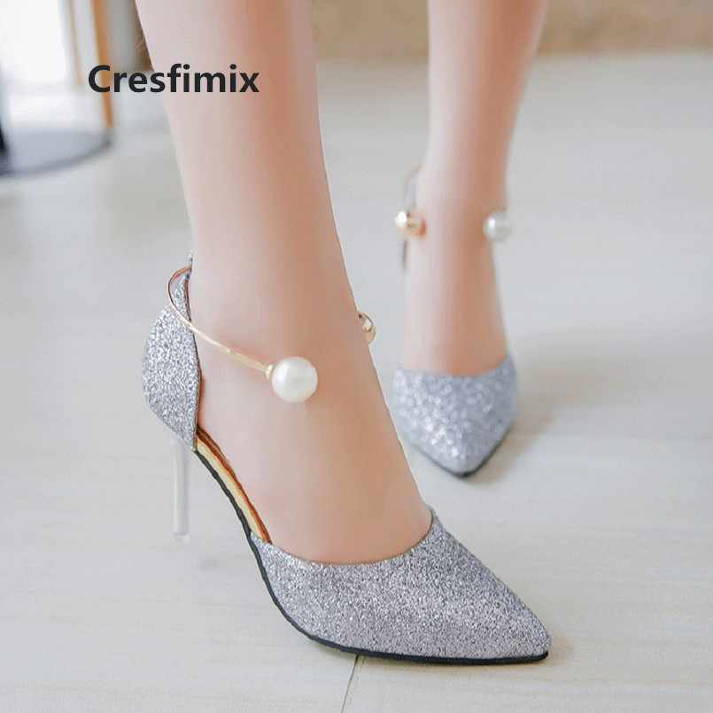 Cresfimix talons hauts women fashion high quality silver pearl high heel pumps bridal sexy wedding golden high heel shoes a3114Cresfimix talons hauts women fashion high quality silver pearl high heel pumps bridal sexy wedding golden high heel shoes a3114