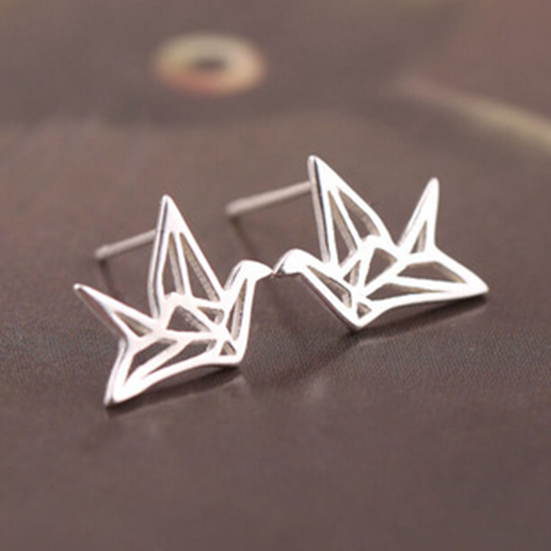 Silver Plated Origami Earrings Simple Paper Crane Earings for women Girl fashion jewelry Best Friends Black Friday Wholesale
