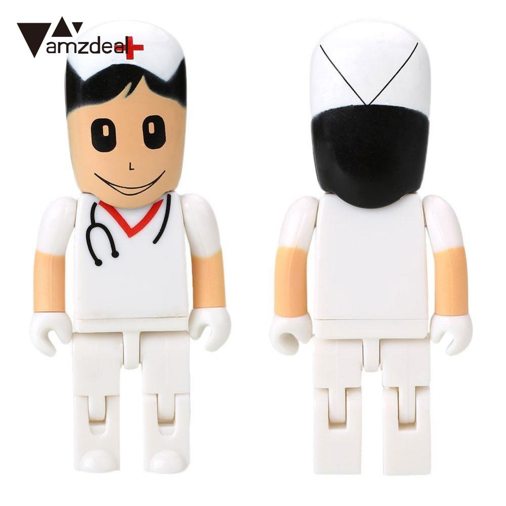 amzdeal Portable 16GB USB Flash Drive Disk USB Stick U Disk Cartoon Doctor Nurse Computer USB2.0 16GB Flash Disk