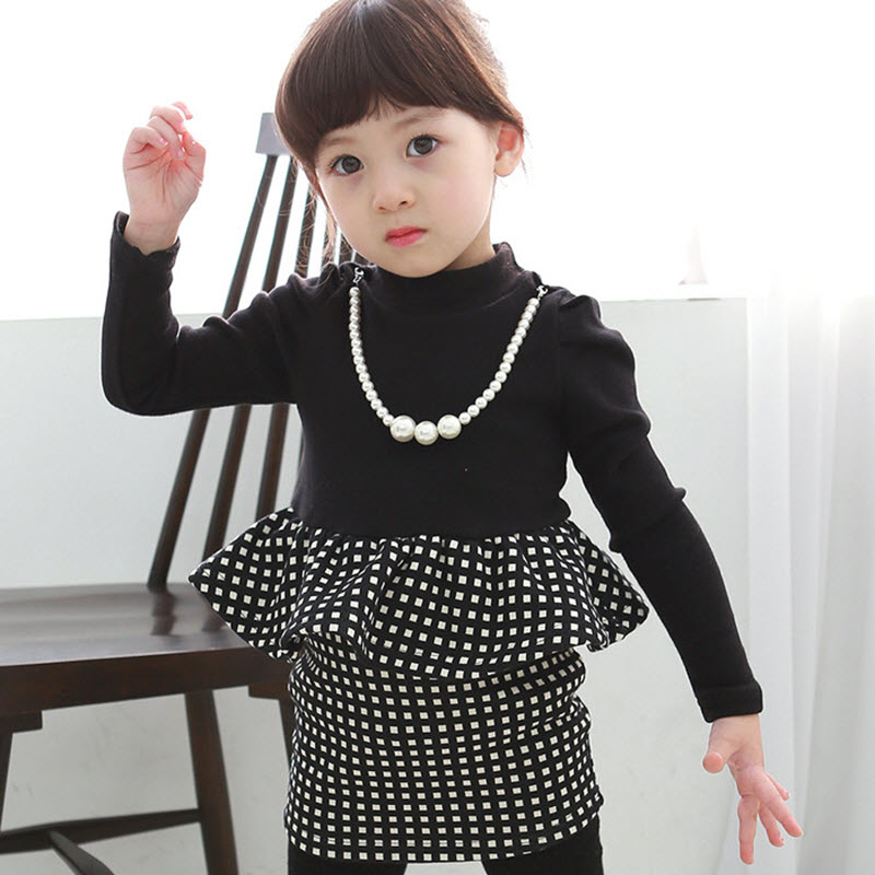 Spring And Autumn Toddler Girls Long Sleeve Dress Vintage Black & White Gingham Peplum Dress With Necklace Kids Boutique