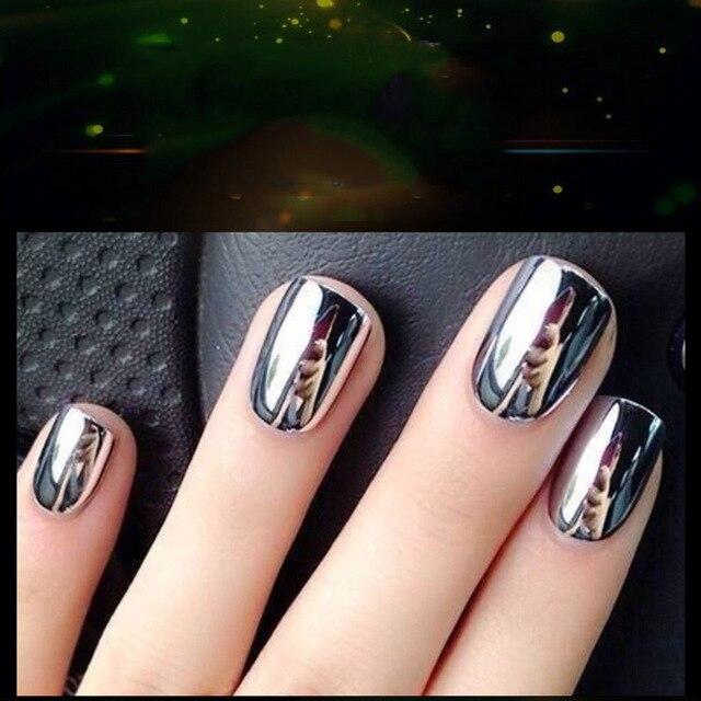 Metallic Silver Color Mirror Nail Polish Gel Base Coat Peel Off Nail ...