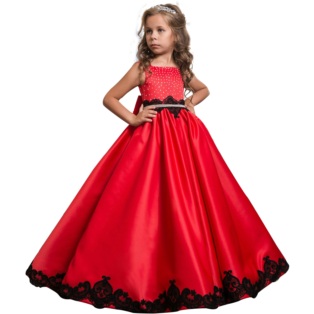 3-12yrs Girls Dresses Wedding Dresses cinderella Kids Wear Bow Princess Party Dress With Little Flower Lace Baby Girls Clothes autumn girl dress rose floral short sleeve princess baby girls lace dresses with 3 bow belt kid party wedding clothes 3 8t