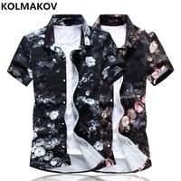 KOLMAKOV 2019 Men's Clothing New Summer Short Sleeve Shirt for Men Cotton Shirts Homme Floral Print Fashion Dress Casual Shirt