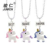 9de0a8930899 Nuevo 3 unids set unicornio collar joyería mejor amigo para siempre  amuletos niños gargantilla Collar para niños y niñas colgant.