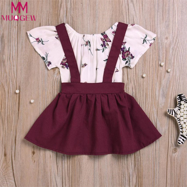 71e25abbcb38 2Pcs Infant Baby Girls Floral Print Rompers Jumpsuit Strap Skirt Outfits  Set 2018 New Summer Children