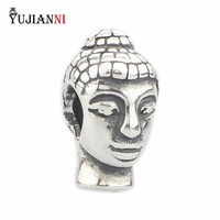 Authentique 100% 925 Sterling Argent Tête de Bouddha Perles de Charme Convient Marque Européenne Troll 3mm Bracelet & Collier Bijoux