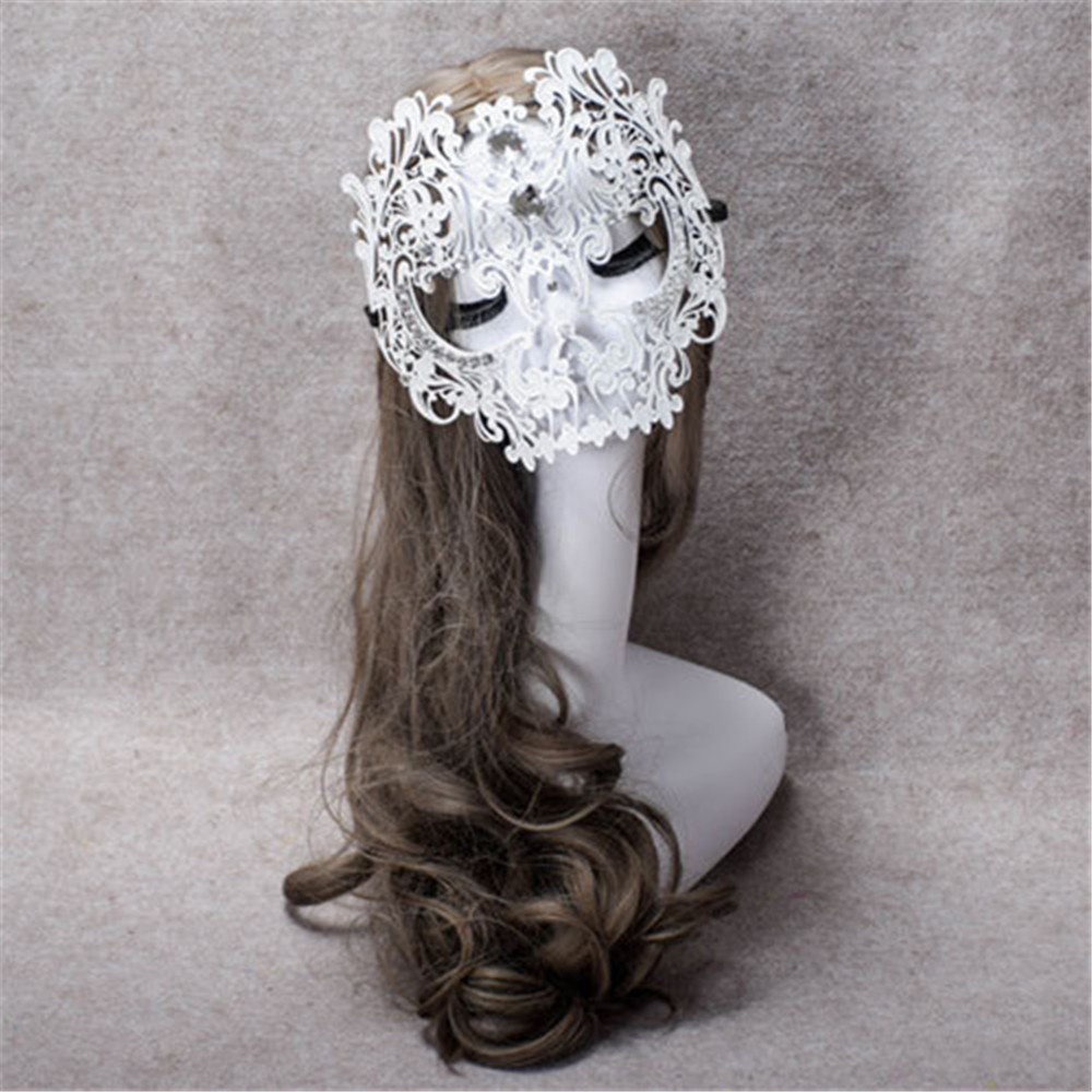 Black white Sexy Skull Masquerade Full face Masks with Rhinestones Venetian masquerade Scary Games Metal Masks for men female