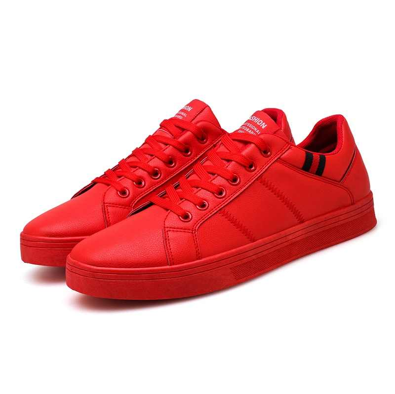 585f9b5a3539 Casual Shoes Black Flat Male Walking Shoes Leather Fashion Sneakers Brand  Footwear Autumn Red Mens Rubber