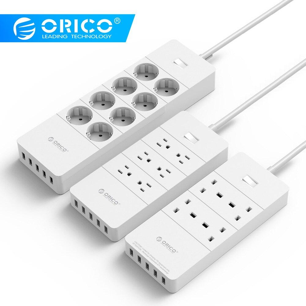 ORICO Мощность полосы ЕС Plug 4/6/8 выходе Стабилизатор напряжения ЕС Мощность полосы с 5x2. 4A USB Супер Зарядное устройство Порты-белый (HPC-V1)