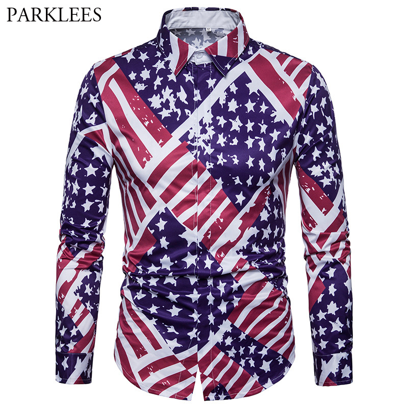 2018 Brand Shirt Men Creative 3D American Flag Print Chemise Homme Covered Button Mens Dress Shirts Long Sleeve Striped Camisa