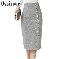 2017 New Arrival Elegant Midi Skirt Wool Skirt Women Slim OL Sexy Open Slit Button Pencil Skirt Elegant Ladies Plus Size Skirts