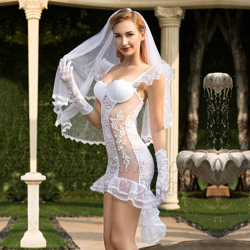 4 Pcs/Set Porn Women Babydoll Lingerie Sexy Erotic Wedding Dress Cosplay Sofa Cover Curtains Sexy Underwear Erotic Lingerie