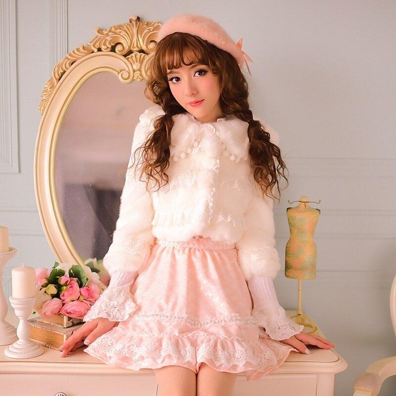 Cr30 Fausse Veste En Blanc Mignon Bonbons Patchwork Sweet Lolita Pluie Pom Manteau Princesse Dentelle Flocage Revers Court Chaud Arc Fourrure zafxqH