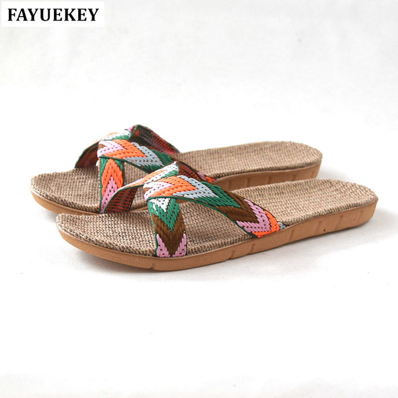 FAYUEKEY 2018 Summer Fashion Home Linen Candy Colors Breathable Slippers Women Indoor Floor Beach Slides Girls Gift Flat Shoes coolsa new summer linen women slippers fabric eva flat non slip slides linen sandals home slipper lovers casual straw beach shoe