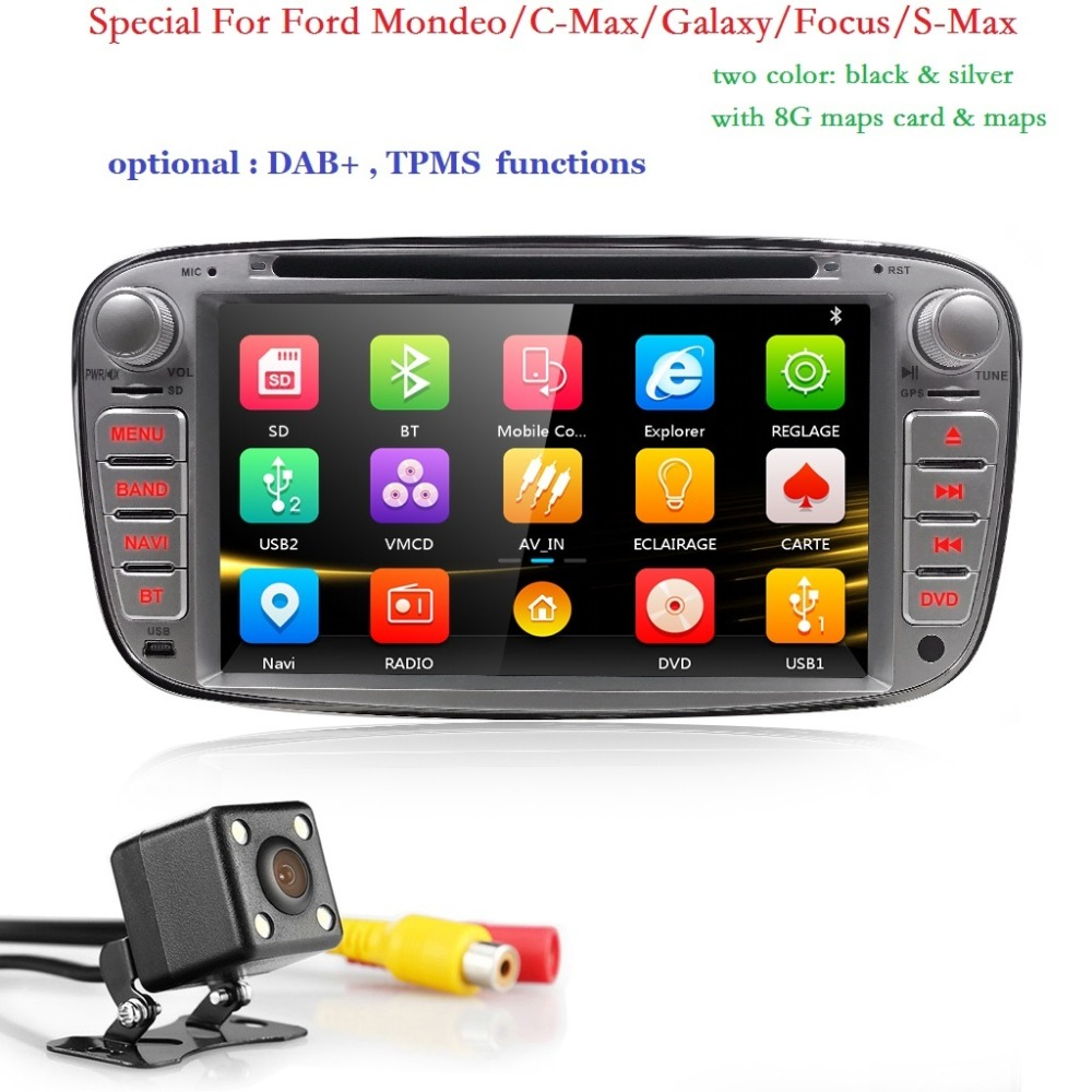 car radio 2 din 7'' car dvd cassette player for ford focus 2 cars tape recorder gps navigation dab+tpms steering wheel bt rds sd