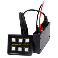 WUPP Universal 12/24 V Tela de Toque Auto Painel De Interruptores 6 Gang On/Off Interruptores de Painel de Led Azul Vermelho Com Soquetes VGA E adesivos