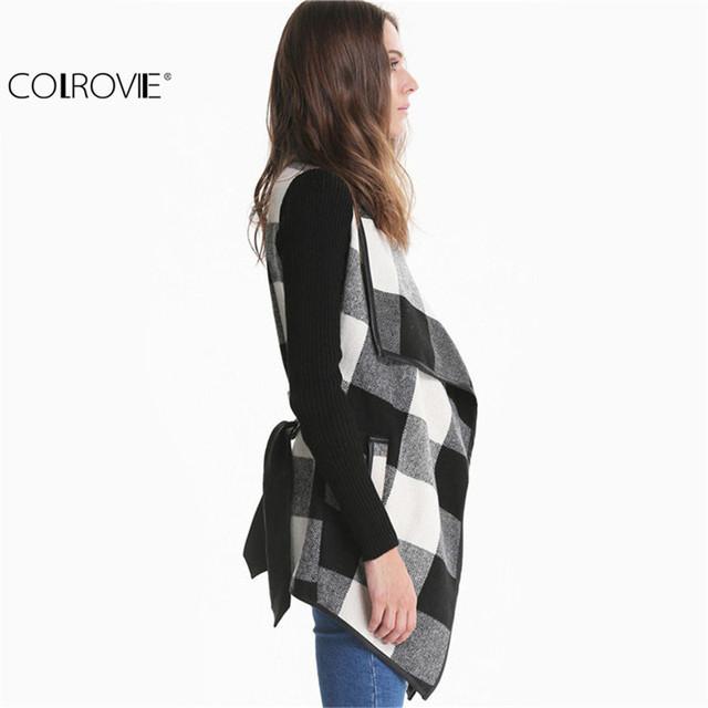 Women Spring Design Trench Casual Coat  Black White (belt)