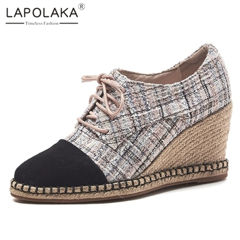 Wedge Shoes For Kids | Lapolaka Hot Sale Patchwork Kid Suede Pumps Wedges Shoes Woman Spring Autumn Casual Lace Up Footwear Women's Shoes Woman