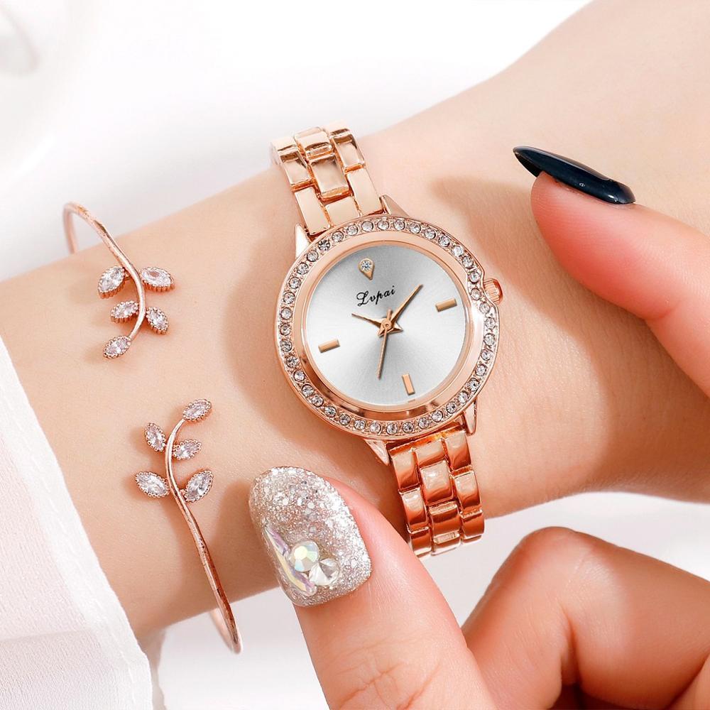 LVPAI High Quality Beautiful Fashion Alloy Steel Strip Women Bracelet Watch Exquisite Small Dial Clock Quartz WristWatch Gift