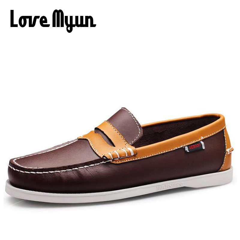 High Quality Fashion Genuine Leather Men Flats Handmade Moccasins Shoes Male lazy slip On Breathable Loafers Driving shoes KK-18