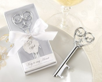 """Key to my heart"" victorian wine bottle opener in White Box wedding favor gift"