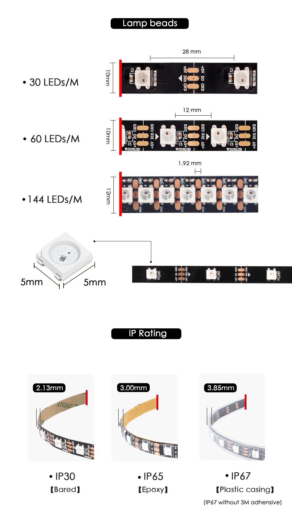 HTB1M6qCX4D1gK0jSZFKq6AJrVXa3 WS2812B DC 5V LED Strip RGB 50CM 1M 2M 3M 4M 5M 30/60/144 LEDs Smart Addressable Pixel Black White PCB WS2812 IC 17Key Bar