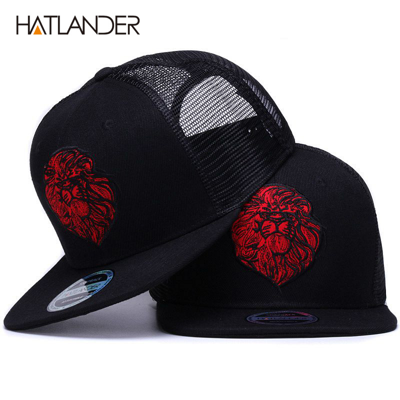 [HATLANDER]Original black   baseball     caps   for boys girls summer sun hats embroidery lion mesh snapbacks hip hop bone trucker hat