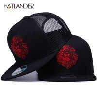 [HATLANDER] Originale da baseball nero Cappellini per le ragazze dei ragazzi di estate cappelli del sole del ricamo leone maglia snapbacks hip hop osso trucker hat