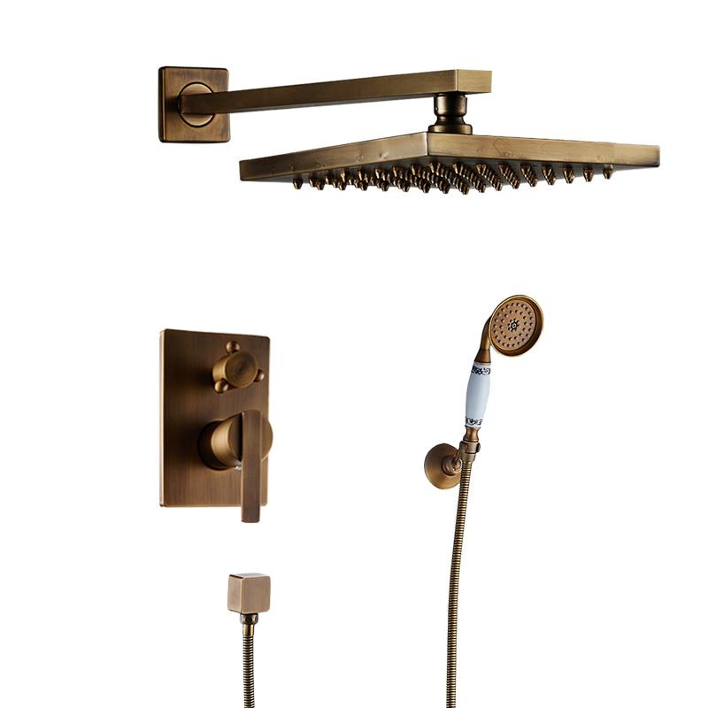 Antique Brass 8 Rain Square Shower Head Bathroom Shower Faucet Set Wall Mounted Shower Mixer Bath