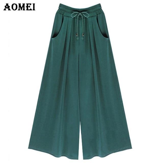 260f340fa8bea Loose Fit Office Women Summer High Waist Wide Leg Pants Pockets Green Black  Casual Trousers 2019 5XL 4XL Plus Size Beachwear
