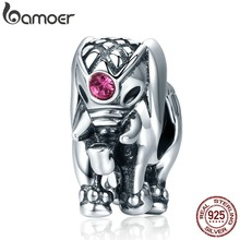 BAMOER Flying Dumbo Beads 100% 925 Sterling Silver Thailand Lucky Elephant Charms fit Women Bracelets Fine Jewelry SCC321(China)