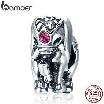 357171b36a2f BAMOER de vuelo de Dumbo 100% perlas de Plata de Ley 925 Tailandia elefante  suerte encantos mujeres pulseras joyería fina SCC321