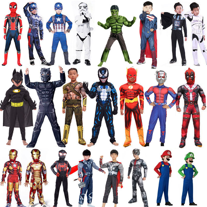 Finssy Spiderman Superman Iron Man Cosplay Costume for Boys Carnival