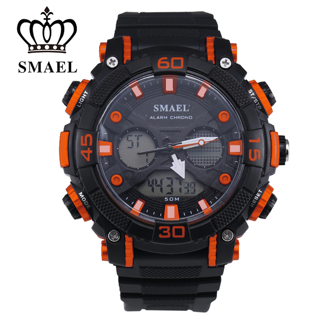 Smael Fantastic Outdoor Dual Display 50m Waterproof Teenage Watch Fashion Han Edition Stopwatch Sports Electronic Watch 1317