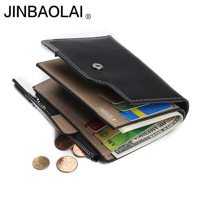 leather wallet men purse short male wallet leather jinbaolai brand famous men's purse money bag quality guarantee !
