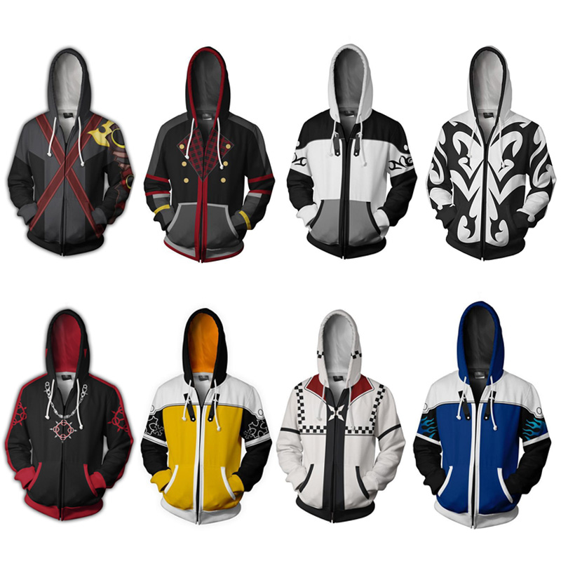 Kingdom Hearts Costume Adult Unisex Sweatshirt Xemnas Cosplay Anime 3D Printed Sweatshirt Zipper Cartoon Hooded Sweater Jackets
