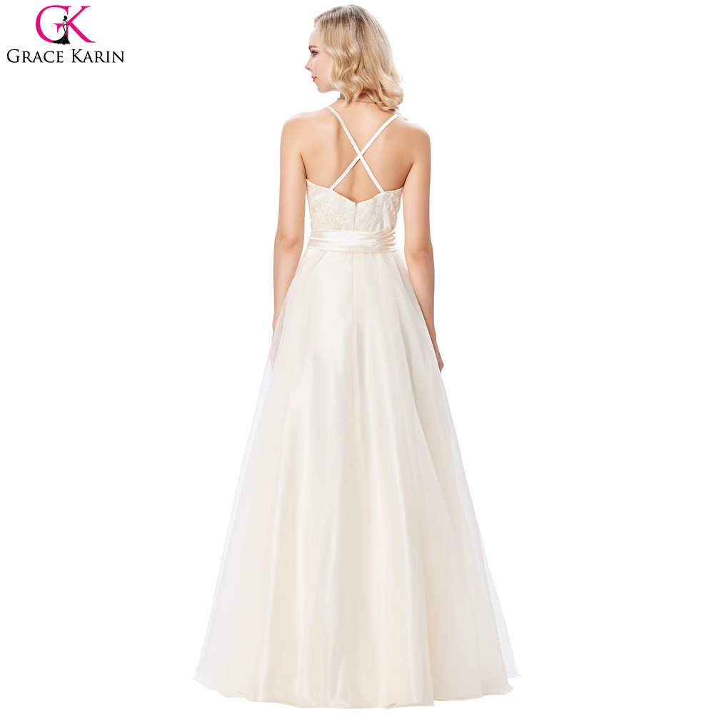 Grace Karin Evening Dress Champagne Voile Satin Appliques Elegant Formal  Wedding Evening Party Gowns Special Occasion Dresses-in Evening Dresses  from ... f9d2b68ce7c7