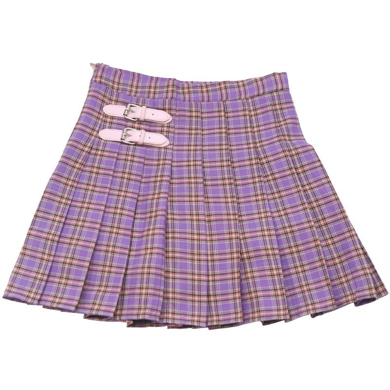 High Waist A-Line Women Skirt Harajuku Fashion Purple Student Pleated Skirt Chic Plaid Leather Buckle Sweet Girls Mini Skirt