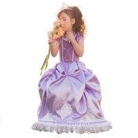 Nowy Rok Odzież Dla Dziewcząt Dressess fioletowy Puszysty sukienka dziewczynka sukienka sofia księżniczka duże płatki księżniczka Sophia