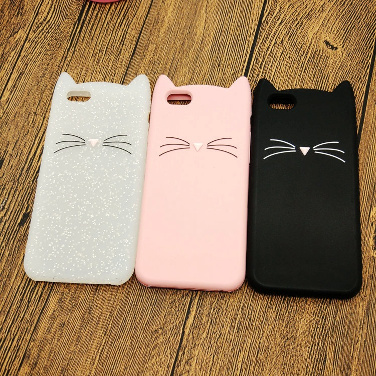 For iPhone 5 5s 5se 6 6s plus Case 3D Cute Kawaii Lovely Moustache Cat Silicone Cover Case for iphone 7 8 plus coque