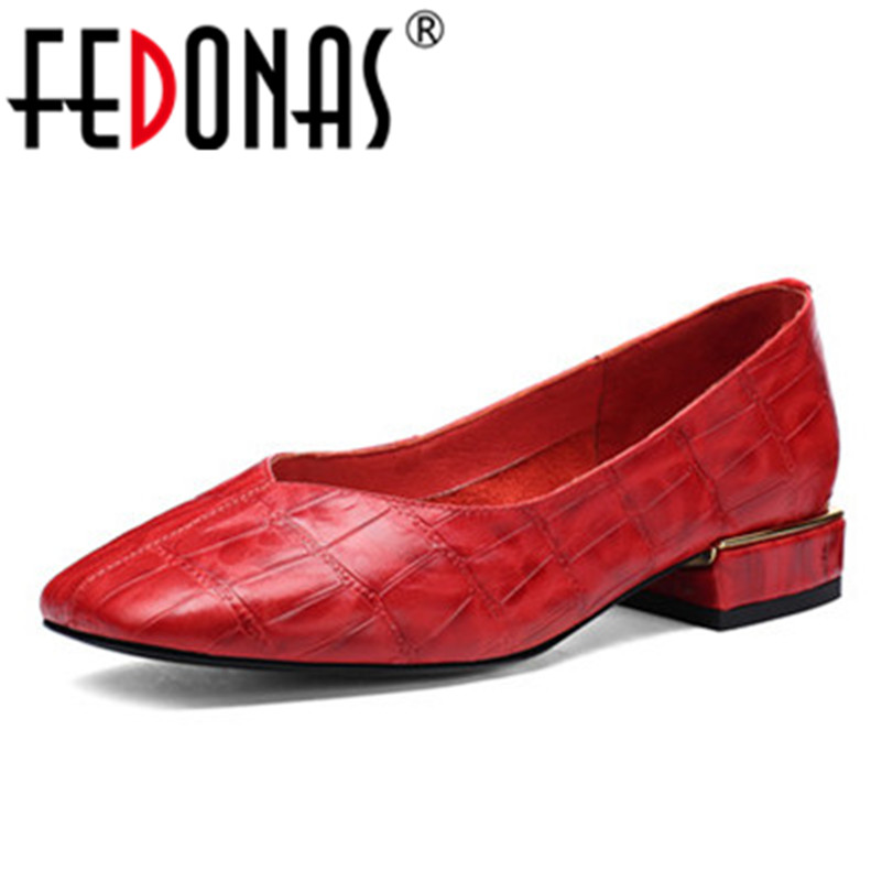 FEDONAS Top Quality Women Cow Leather Basic Pumps Shallow Toe Slip-On Wedding Party Shoes Woman Square Toe New Basic Pumps