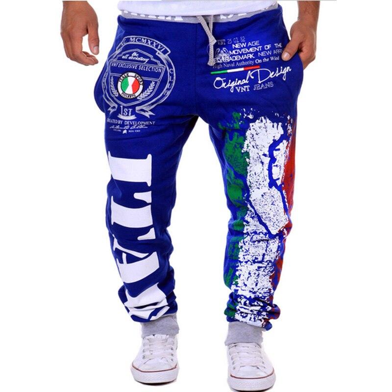 Модные хлопковые мужские повседневные штаны, популярные модели, спортивные штаны с принтом итальянского флага, повседневные штаны - Цвет: Синий