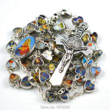 Imagen mezcla católica figuras católica rosario grano de la aleación en forma de corazón del grano