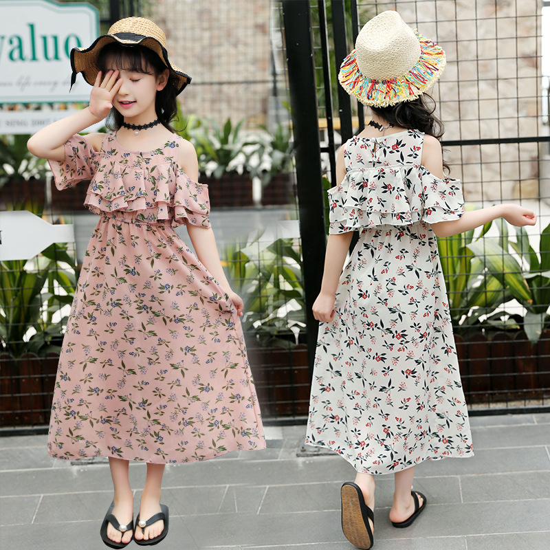 Children Chiffon Dress 2019 Summer Clothes For Girl Teenage Short Sleeve Christmas Party Dresses Kids Girls Floral 10 Years Wear