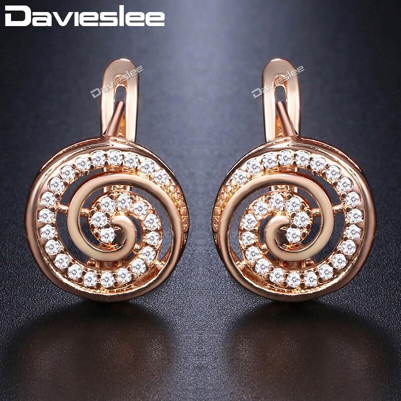 Davieslee Ronde Lolipop En Forme Pavée CZ Boucles D'oreilles Pour Les Femmes 585 Rose Gold Filled Zircon Mode Bijoux DGE134